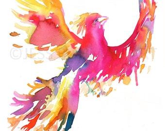 Phoenix Watercolor Painting Print, Phoenix Print, Phoenix Painting, Watercolor Print of Bird, Watercolor Bird, Red Bird Painting, Animal Art