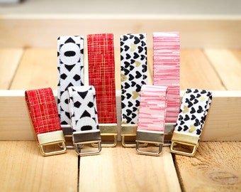 Valentines Day Keychain Fabric Loop Key Chain - XOXO, Red and Gold Hatch, Gold Hearts, Pink Stripe Key Fob