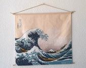 UKIYOE Great Wave of Kanagawa By HOKUSAI tapestry hanging wall Cotton canvas 45x45 cm 18x18 inches