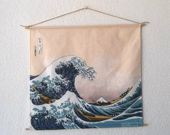 UKIYOE Great Wave of Kanagawa By HOKUSAI tapestry hanging wall Cotton canvas 45x45 cm 18x18 inches