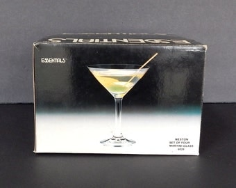 Vintage Martini Glasses, Set of Four