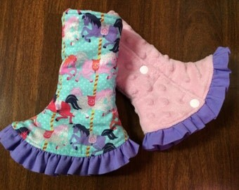 SSC Corner Drool Pads Pastel carousel horses (Carousel) fabric and Pink minky, with lavender ruffle REVERSIBLE Fits Ergo, Tula, Beco, Boba