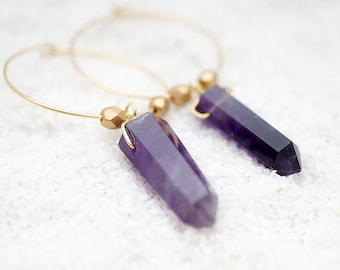 NATURAL Amethyst Crystal Point Mini Hoops & Golden Beads, Genuine Healing Stone Modern Everyday Boho Gypsy Gift For Her, Earrings