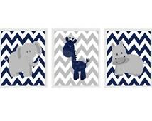 Baby Boy Nursery Art, Elephant Nursery, Giraffe Print, Hippo Art, Navy Blue, Gray, Chevron, Boy Wall Art, Safari Nursery, Boy Room Decor