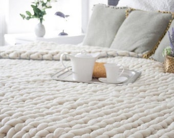 LOWEST PRICE!  Super Chunky Knit Merino Blanket, Queen Size 63 x 80, Wool Blanket,  Blanket, Giant Knitting, Extreme Knitting, Bulky Blanket