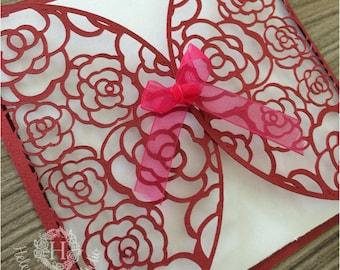 Rose Lace Wedding invitation SVG cutting file / DXF cutting file and svg template / Wedding svg DIY wedding card