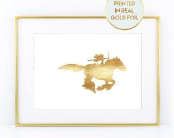 Gold Foil Brave Print - Child Nursery Bedroom Decor Paper in Foil Print in Real Metallic Foil