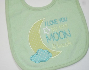 READY to SHIP - I Love You to the MOON and back! Terry Baby Bib