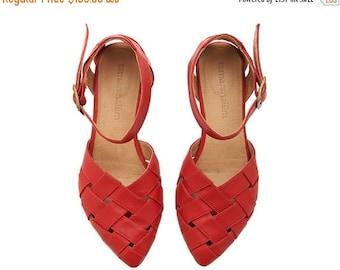 SUMMER FINAL SALE Red Leather handmade flat Sandals / Sophie super comfertable sandals  by Tamar Shalem