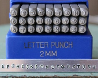 2mm Kristen - Playground Font Alphabet Letter Uppercase Stamp Set - Metal Stamp Set - Metal Stamping and Jewelry Design Tool - SGE-11U