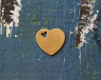 16mm Brass Heart with Mini Heart Cutout Stamping Blank - 24 Gauge - 10 Pack - 15mm x 16mm - Jewelry Stamping Blank - SGMSB2012