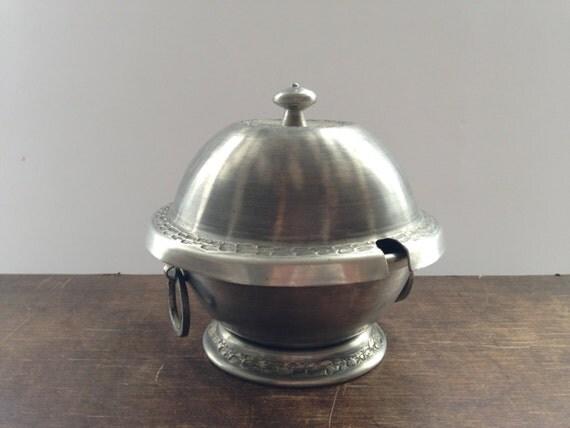 Vintage Tin Sugar Bowl Norwegian tin Sugar Dish Metal footed