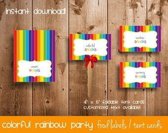 Rainbow Party Food Labels | Tent Cards for Colorful Rainbow Party | Rainbow Food Cards