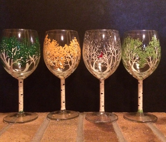 4 Season Hand Painted Wine Glasses Aspen Trees Small Size