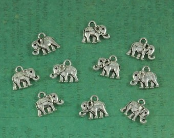 Silver Indian Elephant Charm - Package of 10 - Great Bohemian Touch!