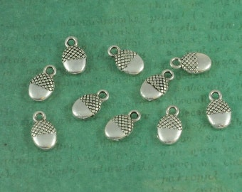 Adorable Silver Acorn Charms - Package of 10 - Perfect for Fall!