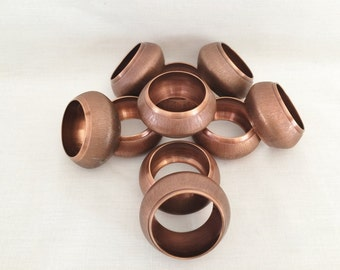 10 - SOLID COPPER NAPKIN Rings - Brushed Copper Pattern