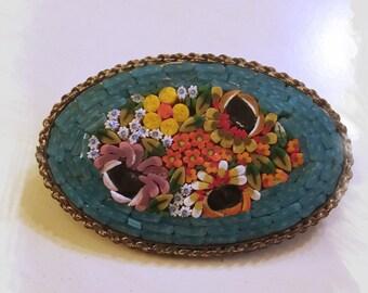 ITALY - Mosaic Brooch - 1920's
