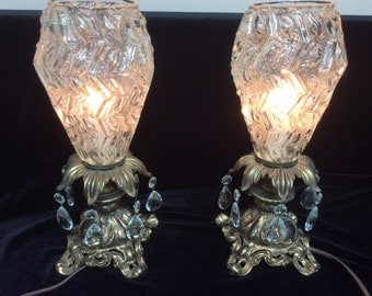 Set of 2 Hollywood Regency Table Lamps, Brass Lamps, Mid Century Modern, Vintage Lamps