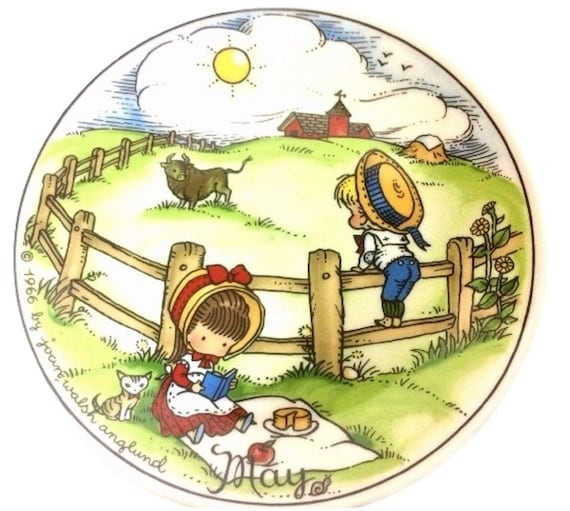 Nursery Rhyme Vintage Plate, May Plate, 7 3/4 Inches, Limited Edition, Joan Wash Angland  Nursery Decor Plate
