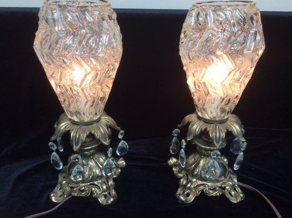 Pair of 2 Hollywood Regency Brass Table Lamps on Etsy