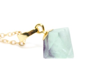 Fluorite Pendant, Fluorite Rock Necklace, Green Fluorite Necklace, Cute Fluorite Necklace, Delicate Fluorite, Gemstone Necklace, Boho