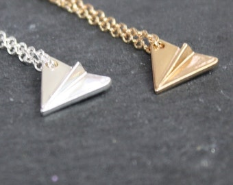 Origami Plane Necklace Silver Aeroplane Necklace Silver Plane Necklace Gold Plane Necklace Paper Plane Necklace
