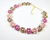 Free Shipping, Flower Gold Swarovsky Pink Necklace, gift for her, pink, violet, necklace long