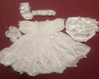 Custom made, Beautiful Lacy Crochet Cotton Dress, Satin Diaper Pants, Shoes, Handmade Satin Slip, Socks, Headband Size 0 to 3months