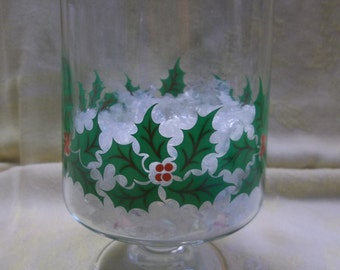 1/2 OFF!!! Vintage Glass Jar with Holly Leaves and Berries, Christmas Decor, T