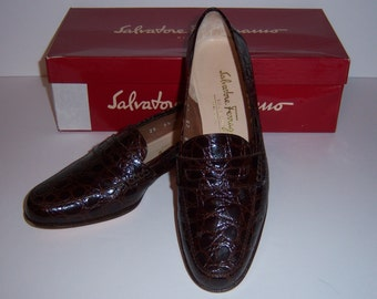 Vintage Salvatore Ferragamo Brown Leather Crocodile Nevada Loafers 5.5 C With Original Box Shoes