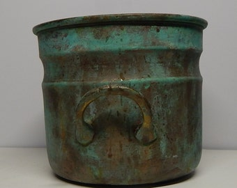 Antique Copper Pot with Green Patina: Planter, pot, 4x5