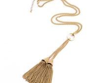 Long Gold Tassel Necklace, Double Tassel Necklace, Long Gold Chain Necklace, Long Gold Necklace, Gold