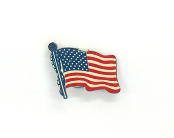 USA Flag Pin Metal Tin Lapel Pin Patriotic July 4th Celebration