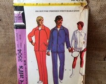 Vintage Pattern McCalls #3504 Men's Jogging Suit, Sport Jacket, Racket Cover, Men's Activewear Boho Retro Size XL Handmade Sewing Collection