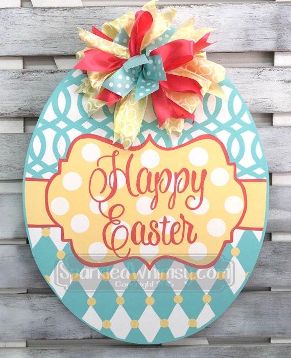 Monogram Easter Egg Door Hanger