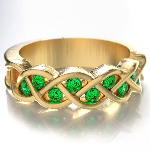 Celtic Wedding Emerald Stone Ring With Braided Knot Design in 10K 14K 18K Gold, Palladium or Platinum, Made in Your Size CR-1005