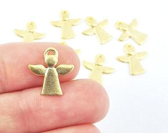 NEW - 8 Mini Angel Charm Pendants - 22k Matte Gold Plated