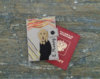 Munch Scream Passport Wallet/ Hand Embroidered Passport Cover/ Felt Passport Holder/ Travel Gift
