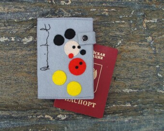 Passport cover Damien Hirst Mickey Mouse/ Hand Embroidered Passport Holder/Vegan Felt Wallet