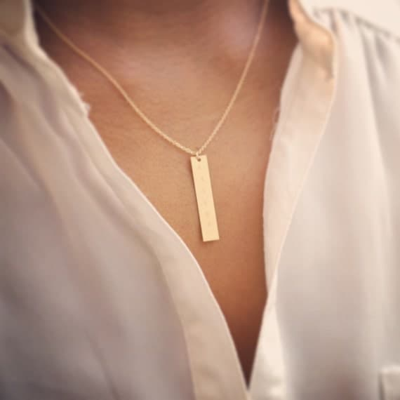 Personalized Custom Stamped Letter Initial Monogram Gold or Silver Hammered Rectangle Pendant Bar Necklace