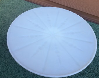 Raised milk glass cake plate