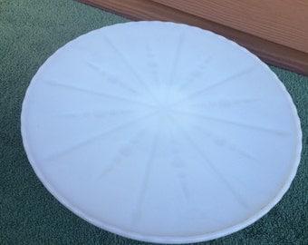 Raised milk glass cake plate