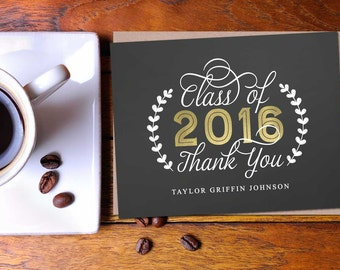 Golden Grad Thank You Folded Note; graduation, thank you