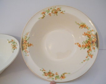 2 Orange Snowball Serving Bowls by Taylor Smith Taylor pattern 3401 vegetable serving - TST near antique replacement china