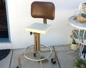 Industrial Office Chair Rolling Drafting Stool Retro Tall Swivel Desk Chair  Midcentury Metal Propeller Chair Vintage