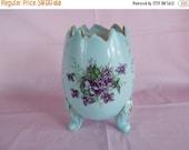 sale Vintage Light Blue Footed Flower Eggshell Shaped Vase