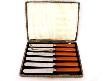 Vintge Set of Bakelite Butter Knifes, Scotia Stainless Steel Cake Knives, 1930s Art Deco Butter Knives, John McClory & Son Sheffield Knives
