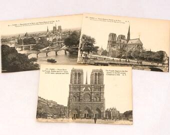Vintage 1920s Paris Postcards, Notre Dame Postcards, Unused Postcards, Black and White Postcards, Tourist Postcards, French Souvenir Cards