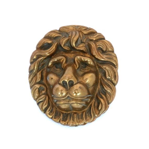 Vintage small lions head brass door knocker by twotimevintage - Lions head door knocker brass ...